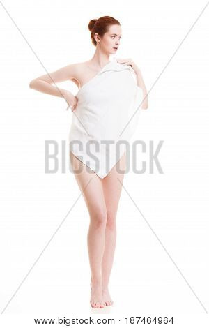 Naked Woman In Towel After Bath