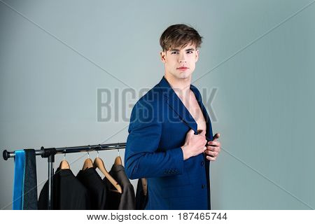 Sale, Shopping, Fashion, Style And People Concept, Man In Jacket