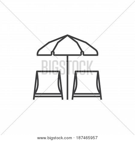 Chaise lounge icon. Beach chaise-lounges and umbrella vector illustration in thin line design.