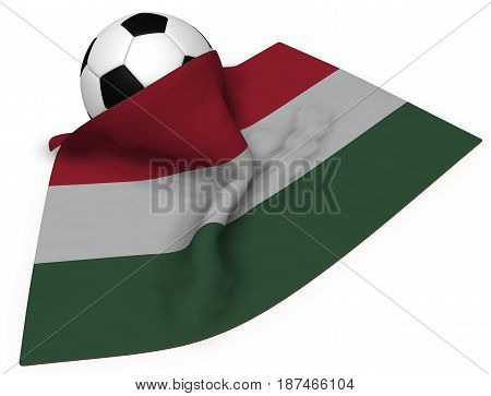 soccer ball and flag of hungary - 3d rendering
