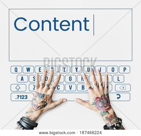 Keyboard customer service word ands hands with tattoo