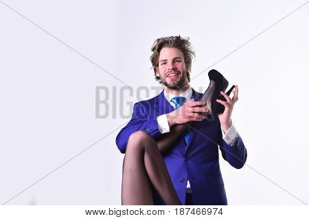 Young Woman With Sexy Legs And Happy Man In Suit