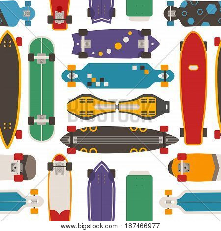 Skateboard pattern with vector various skate decks in flat design. Skateboarding  seamless background with boards of different colors and types.