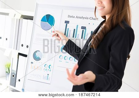 Businesswoman making a presentation and pointing to the graph on flip chart