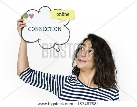 Woman holding chat box billboard network graphic overlay