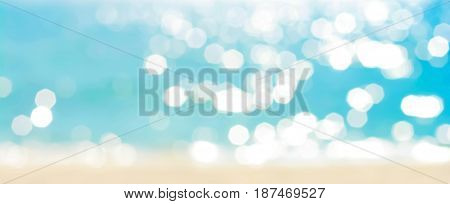 Abstract bokeh background from summer blue sea water at the beach - panoramic banner