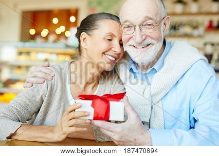 Aged spouses looking at camera while celebrating family event in cafe