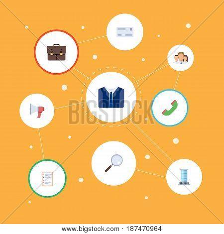 Flat Telephone, Envelope, Portfolio And Other Vector Elements. Set Of Business Flat Symbols Also Includes Portfolio, Envelope, Advertisement Objects.