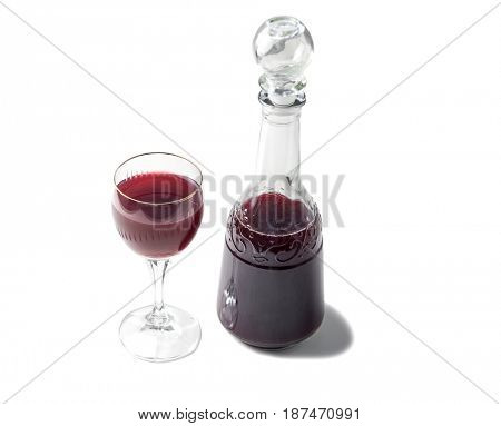 old fashioned bottle and glass of georgian red wine, sweet and good with meats
