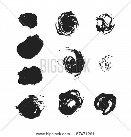 set of ten realistic black brush circular strokes, vector illustration