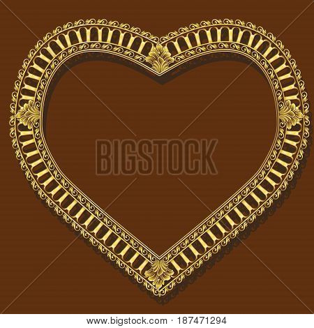 frame gold color with shadow on brown background