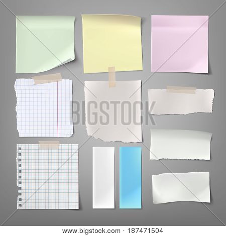 Collection of vector illustrations paper notes of various types in a realistic style isolated on a gray