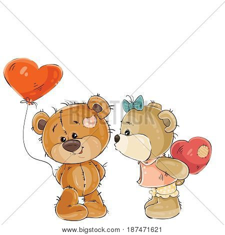 Vector illustration of a brown teddy bear holding in its paw a red balloon in the shape of a heart, his girlfriend is going to kiss him. Print, template, design element