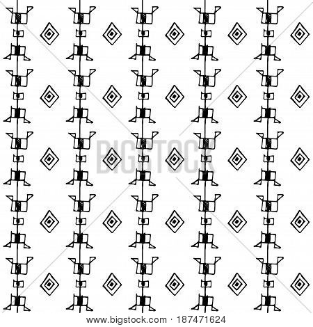 Tribal art boho seamless pattern. Ethnic geometric print. Aztec repeating background texture in black and white.