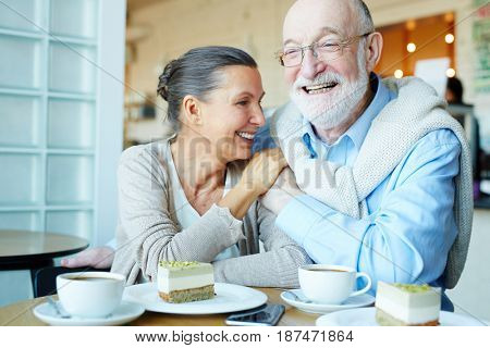 Cheerful and affectionate seniors spending time in cafe