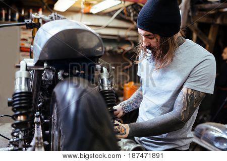 Custom-bike repairman doing his work