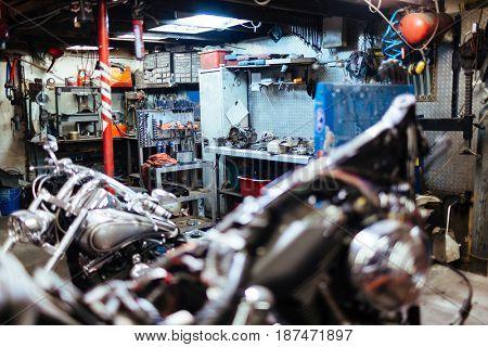 Workroom for custom-bikes repair with equipment