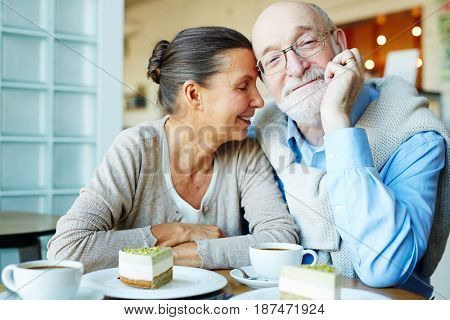 Affectionate spouses having dessert and tea in cafe