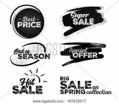 Set of Black Labels with Halftone Patterns. Collection of Hand Drawn Lettering. Best Price Super Sale End of Season Special Offer Hot Sale Spring Sale.