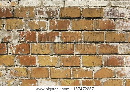 Reddish brown old brick wall abstraction. Textured background closeup.