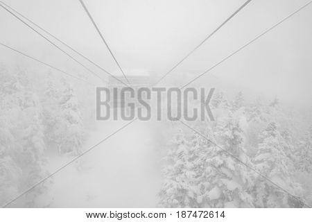 Rope way in winter