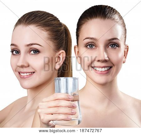 Young woman shows useful properties of clean water for skin.