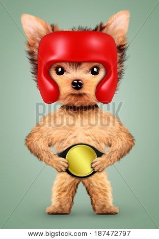 Funny dog wearing boxing helmet and belt. Concept of sport and fitness. Realistic 3D illustration.