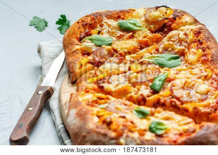 homemade Italian meat pie (pizza) with onions and cheese.