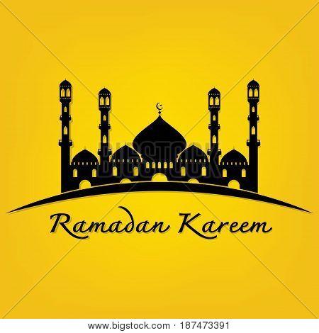 Ramadan Kareem islamic holy holiday beautiful with arabian city greeting card design on yellow background. Vector illustration happy Ramadan Kareem.