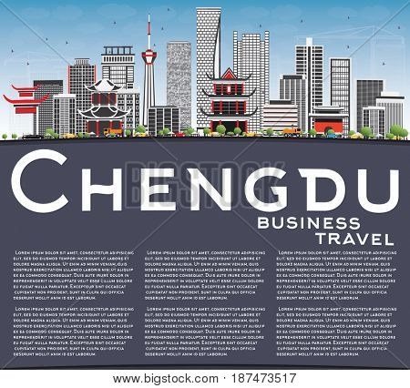 Chengdu Skyline with Gray Buildings, Blue Sky and Copy Space. Business Travel and Tourism Concept with Modern Architecture. Image for Presentation Banner Placard and Web Site.
