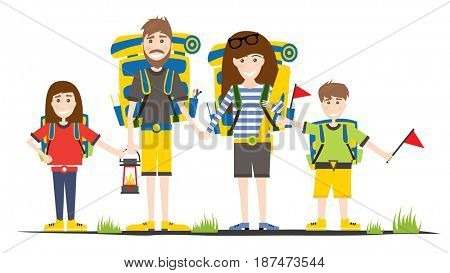 Tourists with Backpacks Isolated on White. Camping Family.