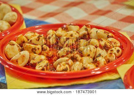 Cloves Of Garlic In Brine For Tasty Appetizer