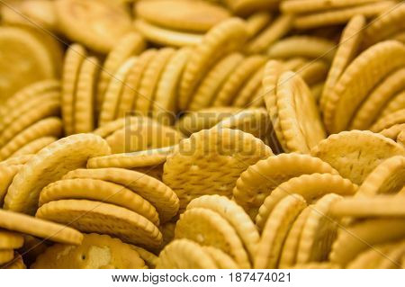 Close up yellow crackers in supermarket for background