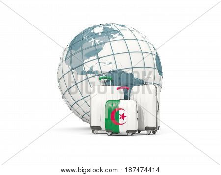 Luggage With Flag Of Algeria. Three Bags In Front Of Globe