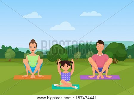 Parents with kid does yoga various exercises. Family yoga vector illustration