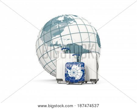 Luggage With Flag Of Antarctica. Three Bags In Front Of Globe