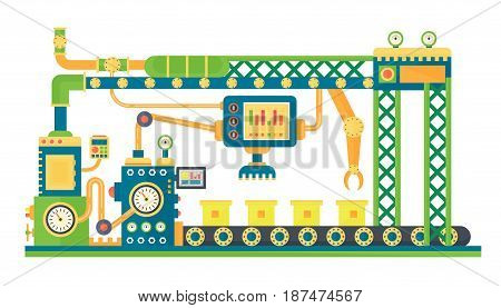 Automatic stock line robots technology industrial machine. Vector illustration