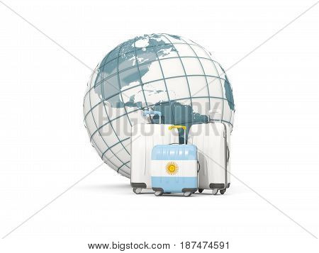 Luggage With Flag Of Argentina. Three Bags In Front Of Globe