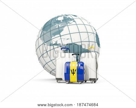 Luggage With Flag Of Barbados. Three Bags In Front Of Globe