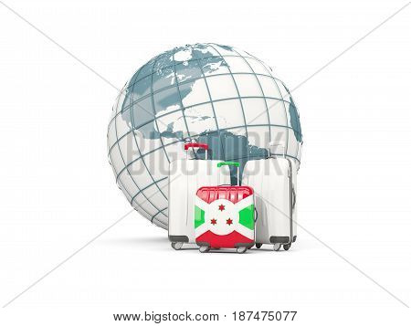Luggage With Flag Of Burundi. Three Bags In Front Of Globe
