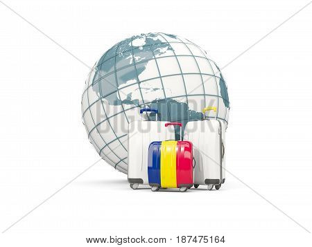Luggage With Flag Of Chad. Three Bags In Front Of Globe