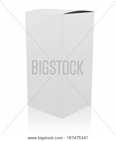 Blank white tall box isolated on white. 3D rendering.