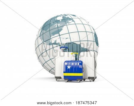 Luggage With Flag Of Curacao. Three Bags In Front Of Globe