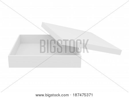 Blank white shirt box isolated on white. 3d rendering.