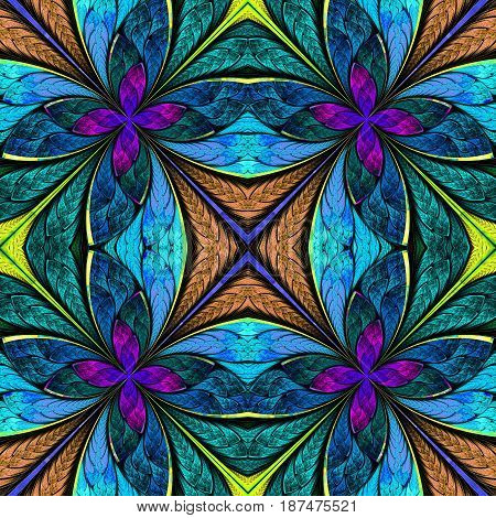 Symmetrical multicolored pattern in stained-glass window style. You can use it for invitations notebook covers phone cases postcards cards wallpapers and so on.