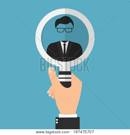 Businessman hand with magnifying glass for user identified. Vector illustration user authentication business security concept.