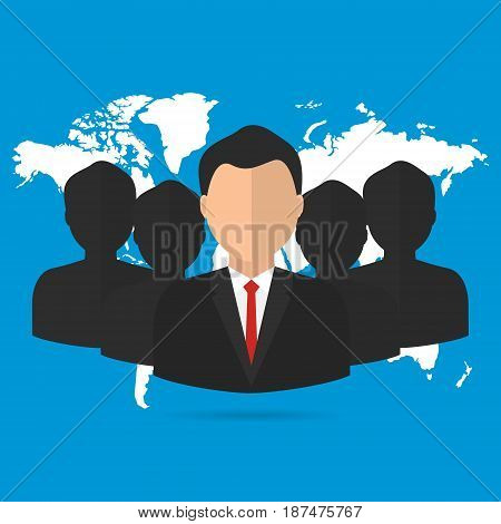 Businessman and worker with teamwork and leadership. Vector illustration business leadership concept.