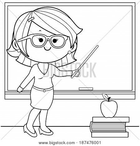 Teacher in the classroom pointing with a stick at a blackboard and teaching. Black and white coloring page illustration