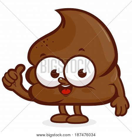 Vector cartoon illustration of a happy poop character.