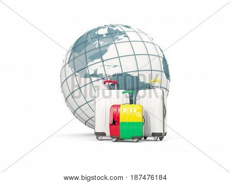 Luggage With Flag Of Guinea Bissau. Three Bags In Front Of Globe